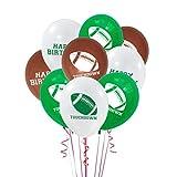 LIOOBO Lot de 18 ballons décoratifs en latex pour ballons de football, rugby, fêtes, sports et clubs, accessoires pour fêtes d'anniversaire (blanc, marron, vert)