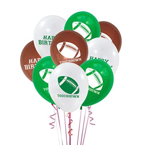 LIOOBO 18 Stücke Fußball Luftballons Dekorationen Latex Rugby Gedruckt Luftballons Party Sports Club Liefert Zubehör für Sport Geburtstagsfeier (Weiß Braun Grün)