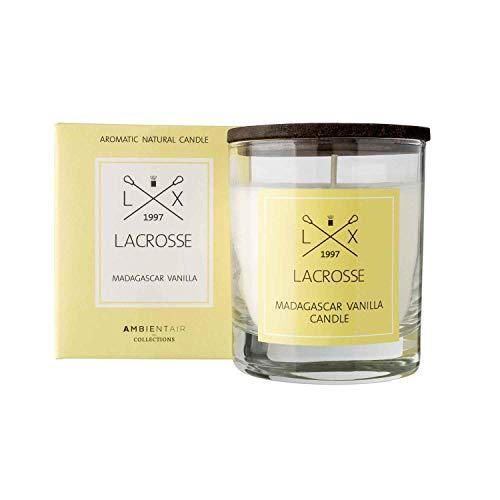 Lacrosse. Duftkerze Vanille Madagaskar. Kerze mit pflanzlichem Wachs und natürlichem Parfüm parfümiert, mit einer geschätzten Dauer von 40 Stunden. Genießen Sie die Aromatherapie in Ihrem Zuhause