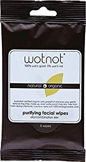 Wotnot Natural Organic Purifying Face Wipes for Oily and Sensitive Skin 5 Pack, 5 count Pack of 1