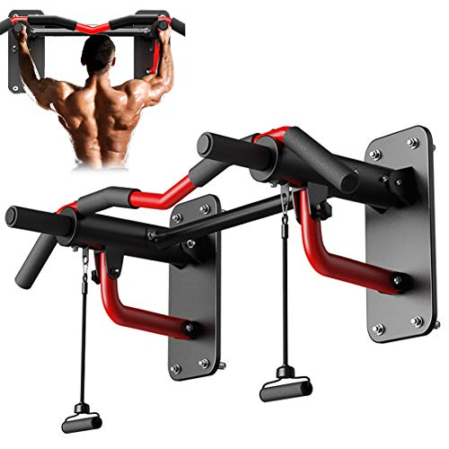 5 In1 Pull-Ups Bar Domestic, Wall Mounted Multifunctionele Pull-Ups Indoor Muur Single Parallel Bars Deurhangers Op De Deur, Zandzakken Kan Worden Opgehangen, Load 300Kg,Red