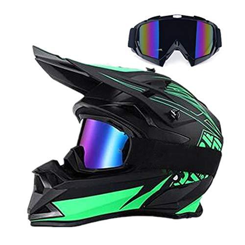 LEENP Casco de Motocross Verde Negro Mate Casco de Cross con Gafas,...
