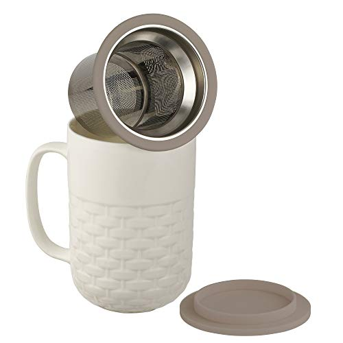 casaWare 15-Ounce Weave Textured New Bone China White Tea Infuser Mug with Lid/Coaster (Gray Lid)