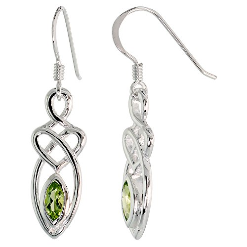 Sterling Silver Peridot Celtic Motherhood Knot Earrings Dangling Fishhook Flawless Finish, 1 1/4 inch