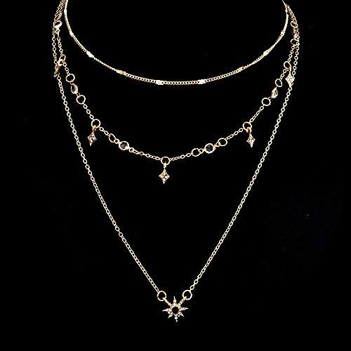 pyongjie Moda Multicapa Estrella Colgante Cadena Collares Diamantes de imitación Gargantilla Larga Collar de Mujer joyería de Fiesta