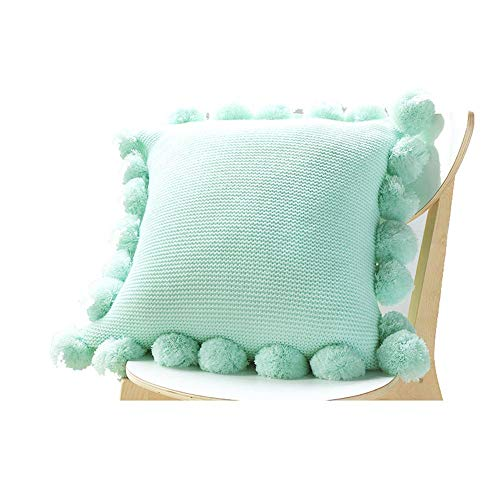 Exquisite Pillowcase Pillow Cover Knitted Plush Ball Square Solid Color Throw Pillow Cushion Cover Decorative Pillowcases For Sofa Chair Couch Bedroom Lightweight and Soft ( Color : Mint Green )
