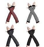 VUCDXOP 4 pares de calentadores de brazos sin dedos para mujer, calentadores de brazos largos sin dedos con agujero para el pulgar, cálidos y suaves guantes para invierno y otoño