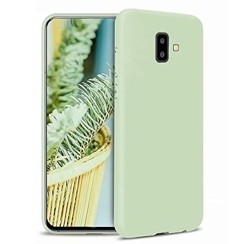 KSHOP Funda Compatible con Samsung Galaxy J6 Plus/J6+ Silicona Líquida Ultrafina Flexible TPU Gel Case Anti-Deslizante/Anti-Choque Protección Carcasa - Verde