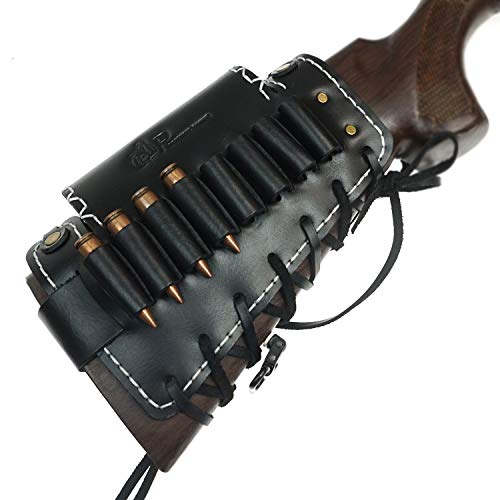 Leather Rifle Gun Buttstock Ammo Holder with Cheek Rest Pad, Cartridge Shell Holder, 4 Colors (Black)