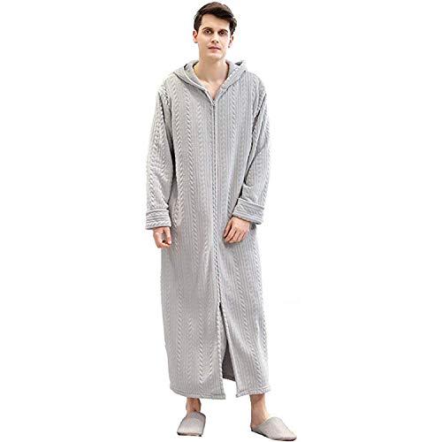 Heren Rits Voorkant Badjas, met Hood Flannel Fleece Pluche Caftan Zachte Lange Robe Warm Housecoat
