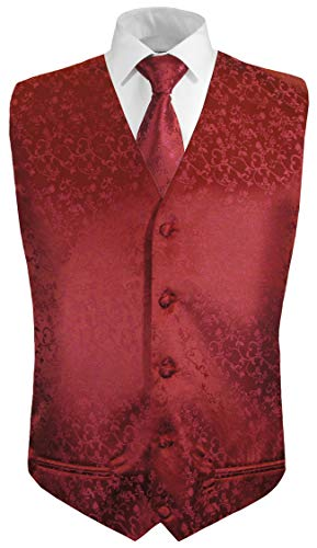 Festliche Jungen Anzug Weste mit Krawatte 2tlg Bordeaux rot floral für Kinderanzug 128-134 (8 Jahre)