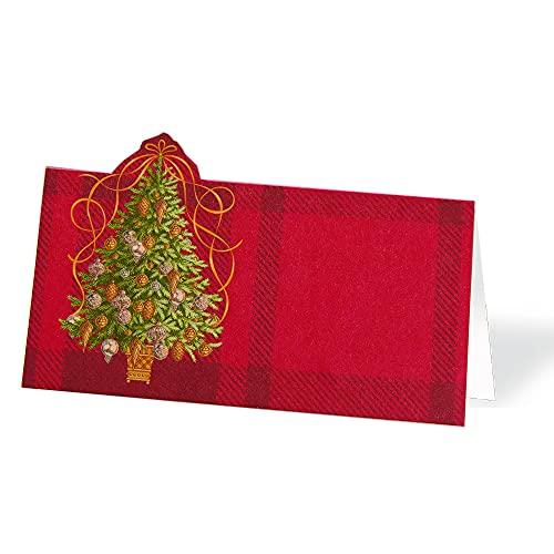Paquete de 16 tarjetas de Navidad para decoración de mesa de Navidad – Tarjetas de nombre rojo con decoración rústica de Navidad – Carpas de mesa, no se necesitan soportes...