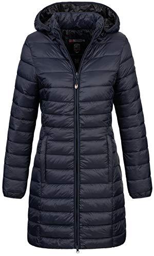 Geographical Norway Damen Winter-Jacke Steppmantel Blonde/Areca mit Kapuze Navy S