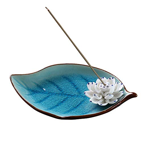 Corciosy Incense Stick Burner Holder-Ceramic Decorative Lotus Incense Burner Leaf-Incense Ash...