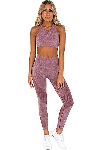Ducomi Gin Damen Fitness Anzug - Sport Leggings und Top Set für Fitness, Yoga, Jogging und Sport - Komplette Sportbekleidung Leggins Hohe Taille und Top Crop Support und Komfort (Rosa, L)