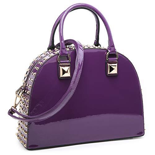 Dasein Patent Leather Handbag Domed Satchel Bag Rhinstone Structured Shoulder Bag Designer Purse (Purple)