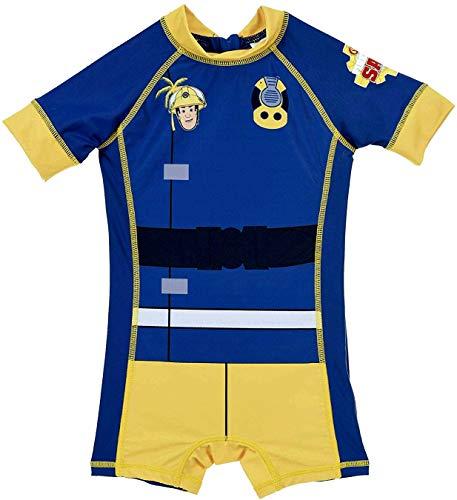 Coole-Fun-T-Shirts Feuerwehrmann Sam Badeanzug mit UV Schutz 50+ für Kinder 2 3 4 5 Jahre (2 Jahre)