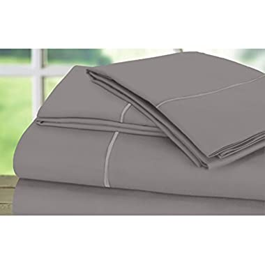 DREAM CASTLE 600 Thread Count 100% Cotton Sheet Set With BONUS Pillowcases,Queen Sheets, Smooth Sateen Weave, Deep Pockets, Luxury Bedding, Queen Sheets 6 Piece Set With Marrow Hem,Platinum New, by
