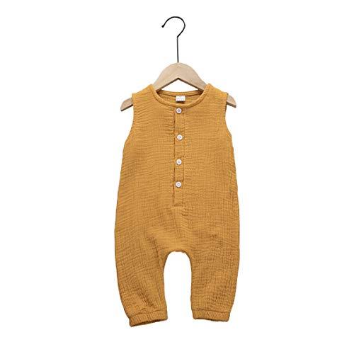 Haokaini Mono informal de lino con botones para bebés y niños pequeños