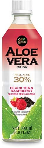 ALLGROO Aloe Vera Drink (vegan, glutenfrei, Einwegpfand) Schwarzem Tee und Himbeere, 12er Pack (12 x 500 ml)