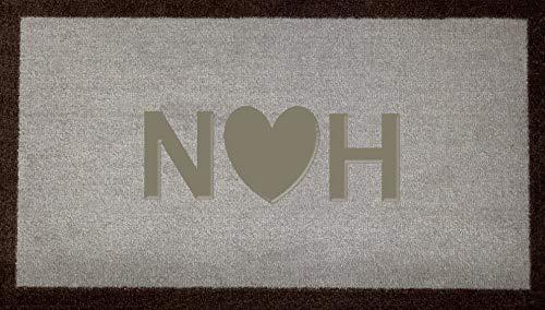 Zerbino personalizzato in fibra di cocco con iniziali a forma di cuore, in nylon sintetico, colore grigio chiaro, marrone, verde, crema, idea regalo (marrone chiaro (interno))