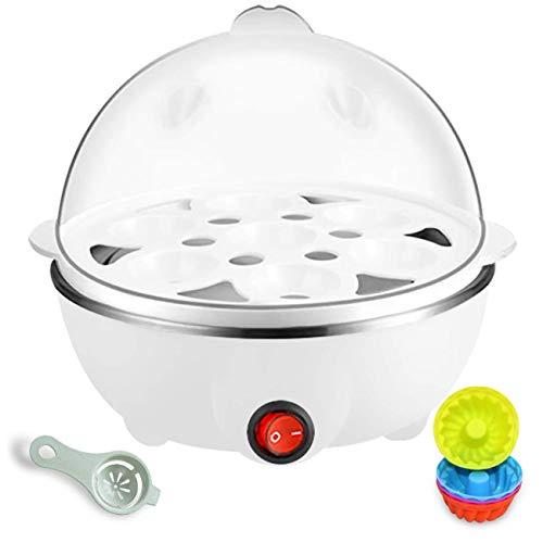 Hervidor eléctrico para huevos, hervidor para huevos duros, fácil cazador furtivo de huevos eléctrico con apagado automático, capacidad de 1 a 7 huevos, sin Bpa (Blanco)
