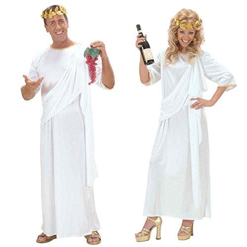 NET TOYS Römische Toga Griechin Kostüm weiß L Unisex Griechische Göttin Kleid Antike Kostüm Römerinkostüm Römer Grieche Senator