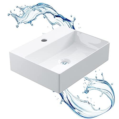STARBATH PLUS - Vasque à poser rectangulaire blanche avec trou pour robinet - Vasque à poser - Vasque à poser en céramique - 46x36x12 cm