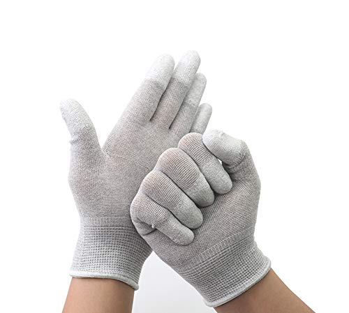 Eayinsmile Anti Static Safety Work Gloves Anti Skid Durable Breathable Hand Protection Carbon Fibre Fingertip Latex Coating for Women Men, Youth (5 Pairs, Small)
