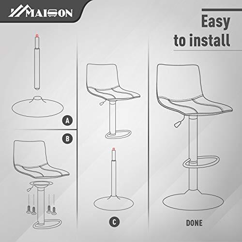 MAISON ARTS Swivel Bar Stools Set of 2 for Kitchen Counter Adjustable Counter Height Bar Chairs with Back Tall Barstools PU Leather Kitchen Island Stools, Brown