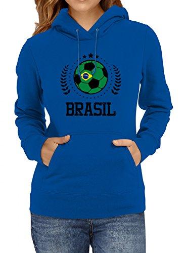 Shirt Happenz Brasilien Weltmeisterschaft 2018#20 Premium Hoodie Fan Trikot Fußball WM Nationalmannschaft Frauen Kapuzenpullover, Farbe:Blau;Größe:XXL