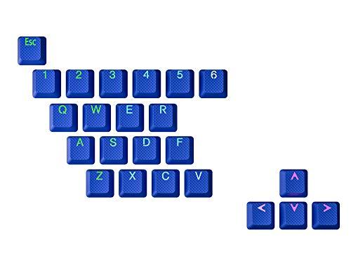 HK Gaming - Set di tappi per tastiera meccanica, in gomma, retroilluminati, 23 tasti, colore: Blu scuro