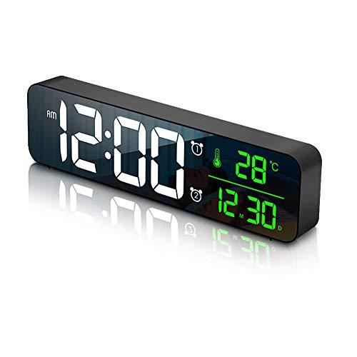 Welltop Sveglia Digitale da Comodino, Orologio da Parete con LED Temperatura Data, 10'' Specchio Grande Schermo USB Clock, 2 Allarme 40 Musica 6 Luminosità di Regolabile 4 Volumi, Nero