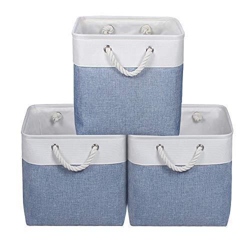 KEEGH Faltbare Aufbewahrungsbox Würfel aus Leinen 33cm Aufbewahrungskorb mit Griffen – 3er Set (Blau, 33x33x33cm)