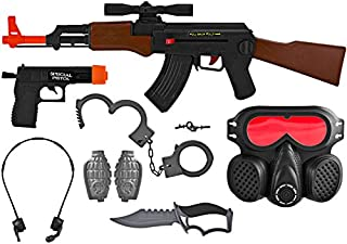 AJ Toys & Games Kid's Pretend Play AK-47 Swat Special Force Commando Kit Set, Friction Toy Gun Role Play