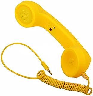 XuBa 3.5mm Universal Phone Telephone Radiation-Proof Receivers Cellphone Handset Classic Headphone MIC Microphone Yellow