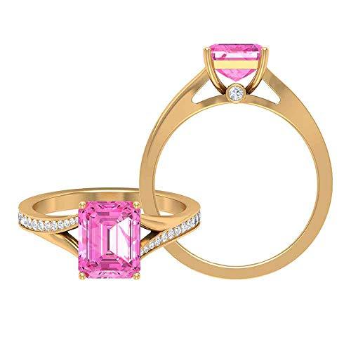 Anillo solitario de zafiro rosa de 2,75 CT creado con detalles de moissanita, anillo de vástago dividido (calidad AAAA), 14K Oro amarillo, Size:EU 62