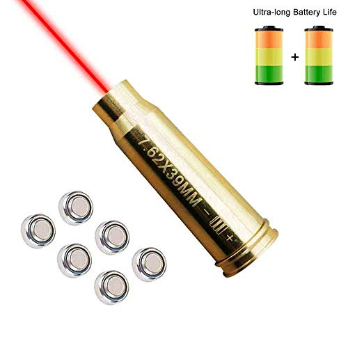 Elenzk Laser Sight - 7.62x39MM Bore Sight Cartridge Hunting Red Laser Boresighter with 6 Batteries, Laser Bore Sight