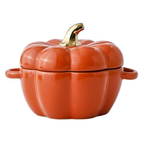AHAI YU Bol de ensalada de frutas, bonito cuenco de calabaza, creativo, personalizado, para hornear arroz, vajilla de cerámica, para postres, taza de guiso con tapa (color: naranja)