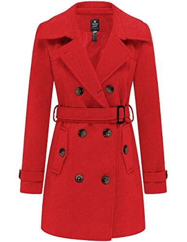 Wantdo Damen Zweireihiger PEA Coat Wollmischung Winterdicke Jacken Mittellanger Mantel Winter Warm Dicker Gürtel Slim Fit Cabanjacke mit Schulterklappen Rot S