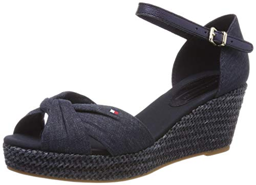 Tommy Hilfiger Damen ICONIC ELBA METALLIC CANVAS Plateausandalen, Blau (Midnight 403), 38 EU