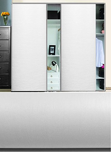 Papel de contacto, con impresión de vetado de madera, con vinilo autoadhesivo, para encimera, cajones de muebles y paredes (60 cm de ancho x 3 m de largo, color blanco)