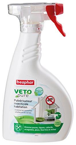 BEAPHAR – VETOPURE – Pulvérisateur insecticide habitation – Élimine les puces, tiques, cafards, araignées, poux, fourmis et mites – Traite des zones ciblées – Protection de 4 mois – 400 ml