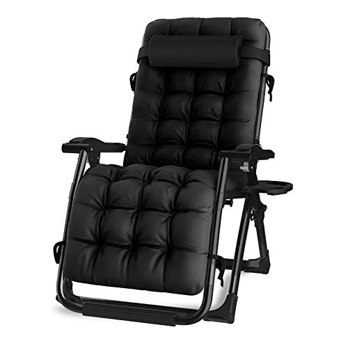 Oversized Zero Gravity Chair, Lawn Recliner, Reclining Patio Lounger Chair, Folding Portable Chaise, with Detachable Soft Cushion, Cup Holder, Adjustable Headrest, Support 500 lbs. (Black Cushion)