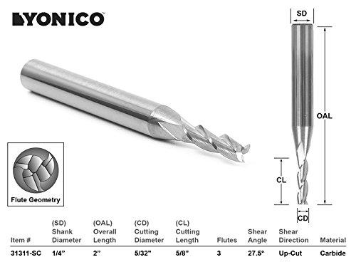 Yonico 31311-sc CNC Router Bit Upcut sólido carburo con vástago 1/4