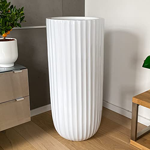 Jarrón de suelo grande, macetero XXL, jarrón grande, color blanco, 91 cm, fibra de vidrio, para...