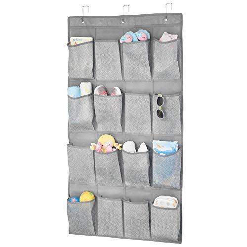 mDesign Hängeaufbewahrung mit 16 tiefen Taschen – Kinderzimmer Aufbewahrung für Kinderschuhe, Accessoires und Kleidung – Taschengarderobe zum Hängen – grau