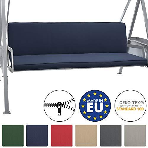Beautissu Hollywoodschaukel Auflage Loft HS 180x50cm Auflagen für 3-Sitzer Hollywoodschaukel mit Rücken-Kissen Dunkelblau erhältlich