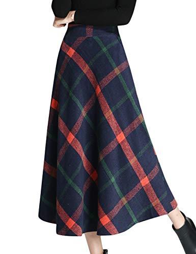 Tanming Women's Winter Warm Elastic Waist Wool Plaid A-Line Pleated Long Skirt (Dark Blue, X-Small)