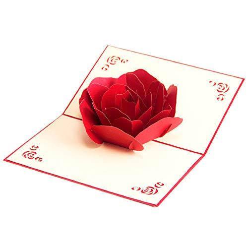 Rose Pop Up Karten – 3D kreative Grußkarte, romantische rote Blume, handgefertigte Karten, Valentinstag Pop Up Karte für Ehefrau, Hochzeitstag – Umschlag enthalten